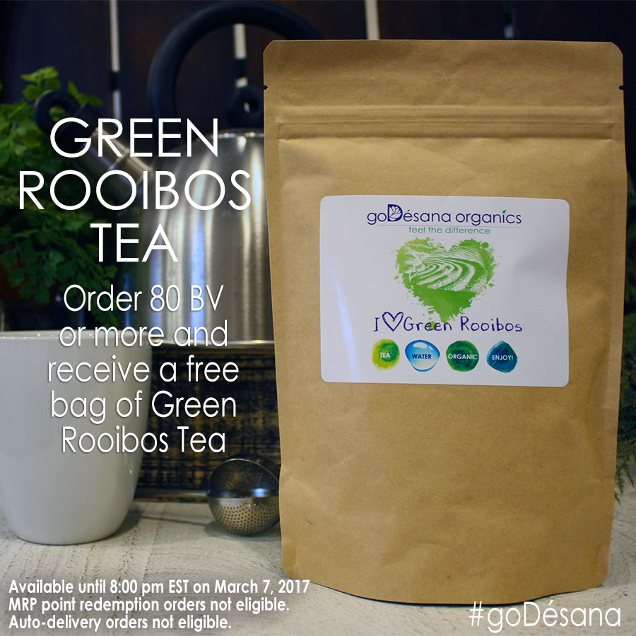 Free Green Rooibos Tea with 80 BV or More Order