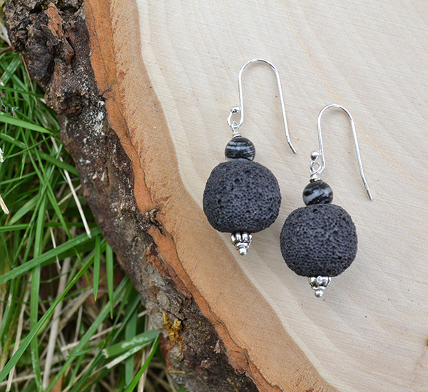 Black lava & Black Line Jasper Earrings