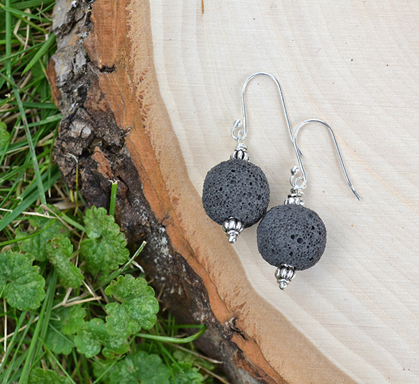 Black Lava & Silver Accent Earrings