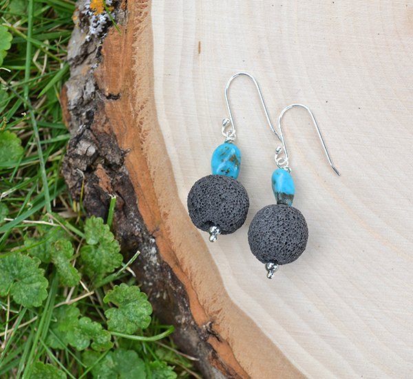 Black Lava & Turquoise Earrings