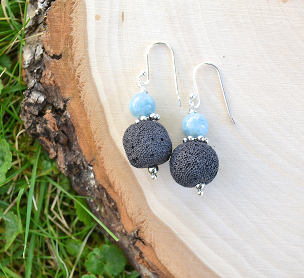 Black Lava & Aquamarine Earrings