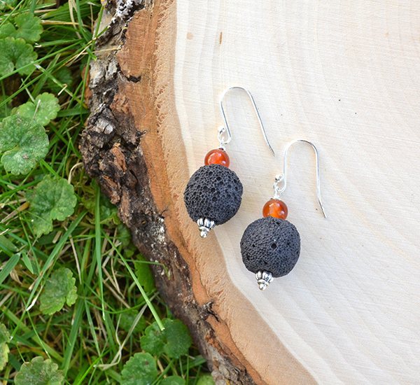 Black Lava & Carnelian Earrings