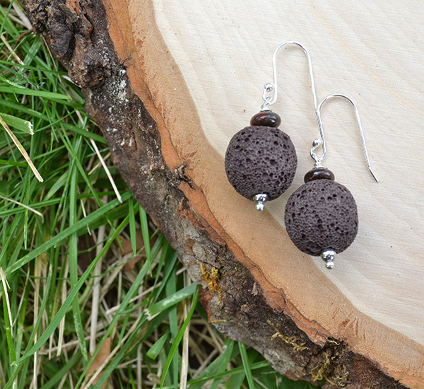 Brown Lava & Brown Iron Zebra Jasper Earrings