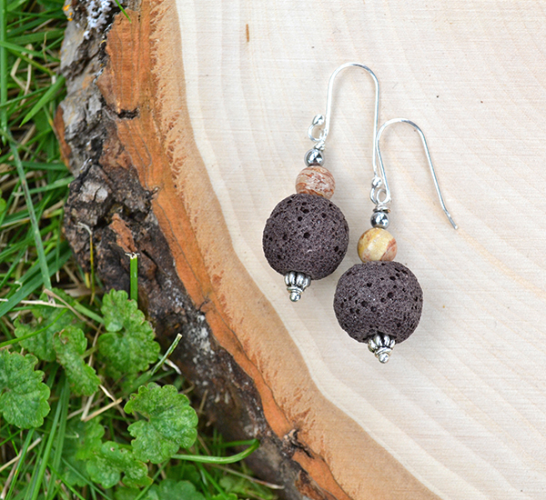 Brown Lava & Chocolate Jasper Earrings