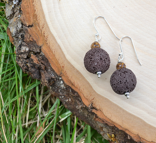 Brown Lava & Elephant Skin Jasper Earrings