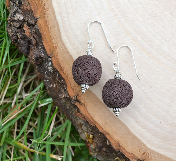 Brown Lava & Silver Accent Earrings