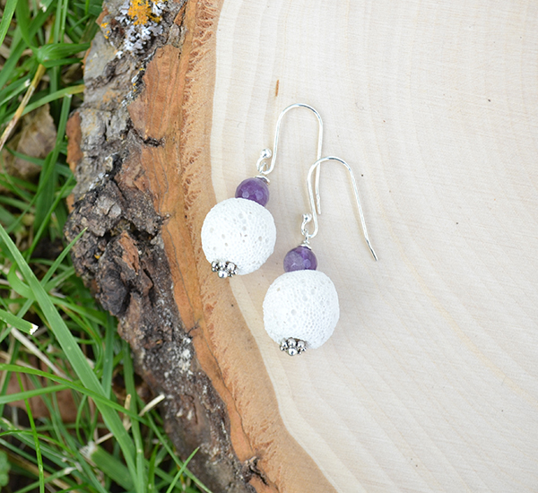 White Lava & Amethyst Earrings