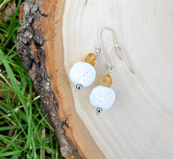 White Lava & Citrine Earrings