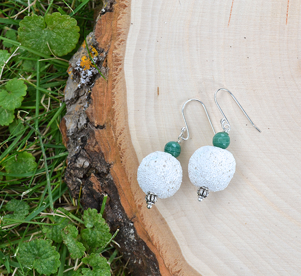White Lava & Green Agate Earrings